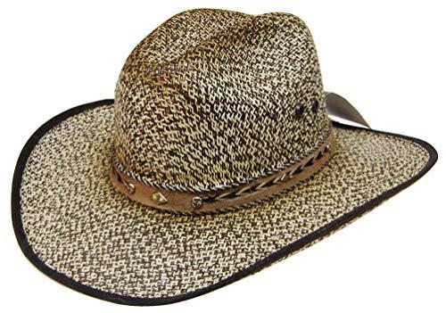 Modestone Straw Cowboy-Hut Suede-Like Hatband Fabric Edge Beige Scala Suede Cap