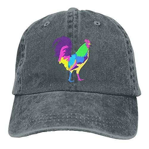 VTXINS Colorful Chicken Rooster Denim Hat Adjustable Women Washed Baseball Hats Rooster-box