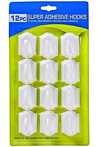12x selbstklebende Super Stick weiß Wandhaken zum Aufhängen Nägel Doppelseitiges