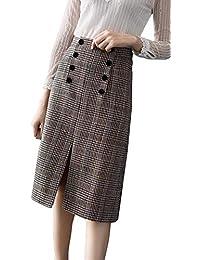 2a2f49ef106a BININBOX Damen Rock Retro hohe Taille Tellerrock Frühjahr Herbst Winterrock  Skirt