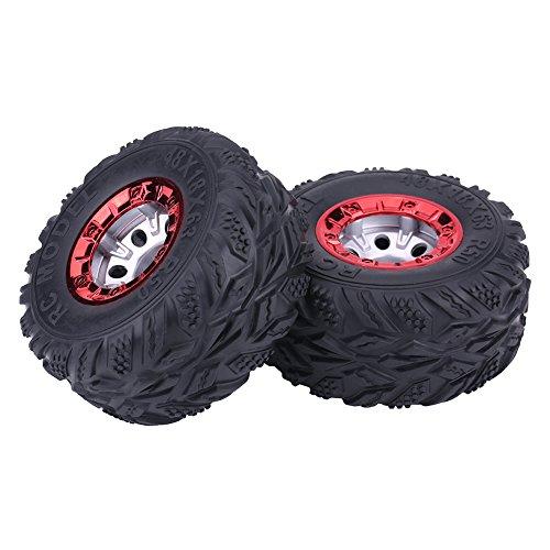 Dilwe 2Pcs Gummireifen, RC Auto-Reifen mit Nabe-Rad für FY-CL02 1:12 RC-Rennwagen-LKW (12mm Rc Reifen Und Räder)