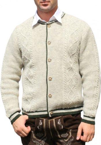 Trachten Wolljanker Strickjacke Zopfmuster ecrue melliert, Größe:56