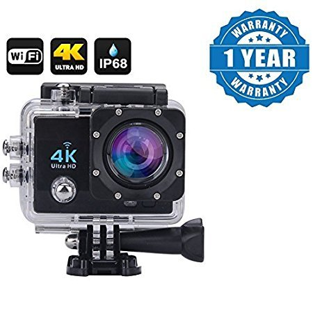 Drumstone Wi-Fi 4K Waterproof Sports Action Camera - 4K Ultra HD, 16MP,2 Inch LCD Display, HDMI Out, 170 Degree Wide Angle