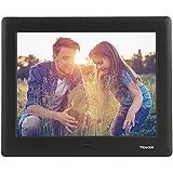 TENKER 7-Zoll HD Digitaler Bilderrahmen IPS LCD Display mit Autodrehung/Kalendar/Uhr Funktion, MP3/Foto/Videoplayer mit Fernbedienung (Schwarz) (7-Zoll)