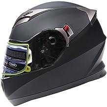 Casco Moto Integral ECE Homologado - YEMA YM-829 Casco de Moto Scooter para Mujer Hombre Adultos con Doble Visera -Negro Mate-M