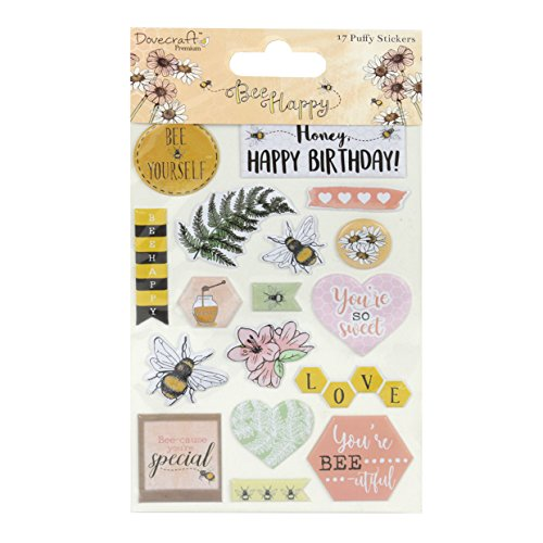Dovecraft Bee Happy Premium Collection - Puffy Stickers -