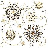 Mank Airlaid-Servietten 40x40 cm   Premium Einweg-Serviette   textilähnlich und saugstark   perfekt für Weihnachtsfeiern & Adventsfeiern   Weihnachtsservietten   50 Stück   Cristal (Braun-Gold)