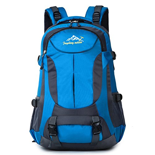 Amoyie 45L Unisex Rucksack Outdoor Sportrucksack Laptoprucksack Schultasche Reiserucksack Wanderrucksack Daypack Tasche Freizeitrucksack für Radreisen Wandern Camping Blau