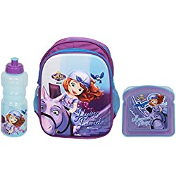 HMI Disney Junior 14 Litres 3D Embossed Kids Backpack, Baby Boys Girls Toddler Pre School Kindergarten Play School Backpack Bag, Light Weight & Soft material, in Disney Junior Characters (Sofia The First Combo)