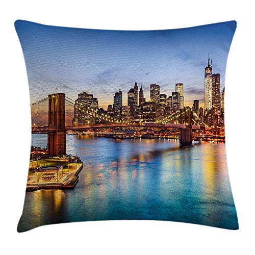 (United States Throw Pillow Cushion Cover, New York City Skyline Over East River Brooklyn Bridge Twilight, Decorative Square Accent Pillow Case, 18 X 18 Inches, Blue Dark Orange Yellow)