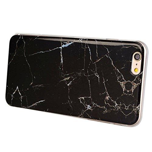 GrandEver Coque iPhone 6 et iPhone 6s Marbre en Blanc Gris Silicone Gel TPU Rigide Vintage Design Souple Étui Housse Protecteur de Protection Case Anti-Choc Anti-Rayures Marble HousseiPhone 6/6s Noir