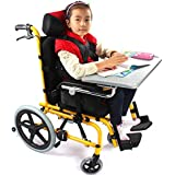 HSRG Silla de Ruedas para niños con Mesa con Bandeja, Respaldo Alto con reposacabezas para niños discapacitados.