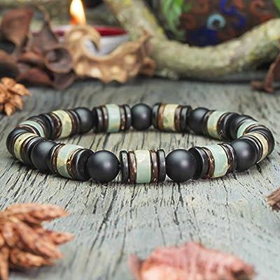 Bracelet homme perles Ø 8mm pierre gemme Agate Noir Mat Pierres naturelles Serpentine Bois Cocotier/Coco Fait main Made in France