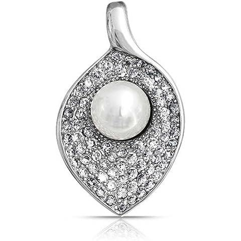 Bling Jewelry Pendiente Chapado en Plata Flores Circonitas Perla Simulada