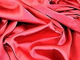 Uni Stretch Satin Kleid Stoff, Meterware, Rot + Frei