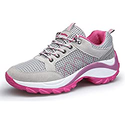 DAFENP Donna Sneakers Scarpe da Ginnastica Corsa Sportive Fitness Running Basse Interior Casual all'Aperto,XZ806-W-grey-EU36