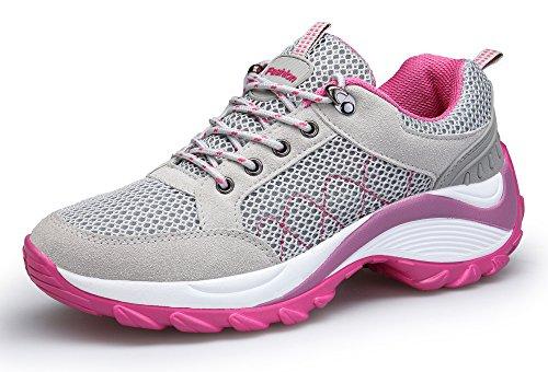 KOUDYEN Femme Chaussures de Sport Baskets Lacets Basses Fitness Mesh Confortable Chaussure Running,XZ006-grey1-EU38