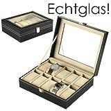 Discountoase Uhrenkoffer Uhrenbox Schaukasten Uhrenkasten Uhrenvitrine für 10 Uhren Leder-Look mit Echtglas-Sichtfenster