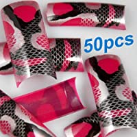 50 Stunning Black Red Deer Styles False French Acrylic Nail Art Tips NEW by 350buy