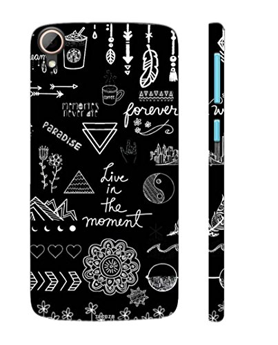 Tecozo Designer Printed Back Cover/Hard Case for HTC Desire 828 (Live in The Moment Design/Quotes) - Black - G594