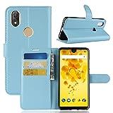 COVO Wiko View 2 Étui porte-monnaie Housse Housse Soft Housse pour Smartphone pour Wiko View 2 Avec support Fonction (Bleu)
