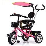 GJX Tricycle pour Enfants, Poussette de vélo 1-6 Ans, Poussette de Tricycle, Chariot pour Poussette (Couleur : Peach Powder)