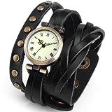 Armbanduhr - SODIAL(R) Quarz Armbanduhr Vintage StIL Armband Leder Niete Retro Schwarz WAA340