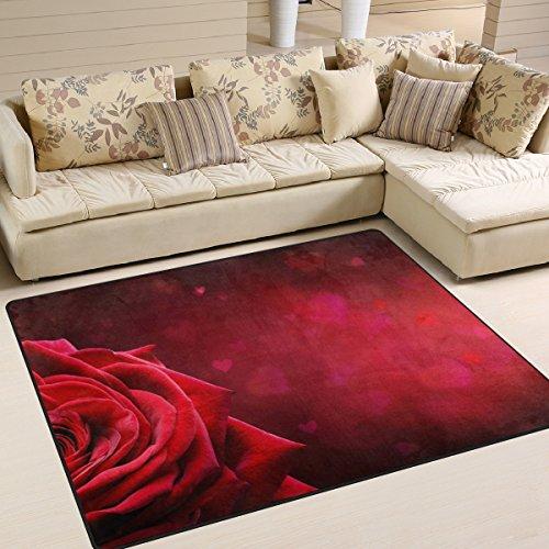 yibaihe rot Rose Form Herz bedruckt Große Fläche Teppiche, leicht rutschfeste antistatisch wasserabweisend Boden Teppich für Wohnzimmer Schlafzimmer Home Deck, 160x 122cm