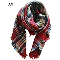 Squishtoy Winter Weiche Warme Tartan Karo Schal Schals Wraps für Kinder Kinder Quaste Schal