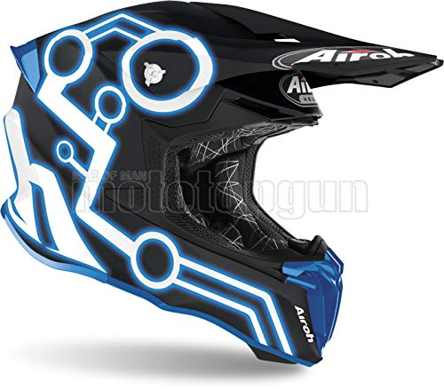 AIROH TW2N18 CASCO MOTO CROSS BLU MATTO TWIST 2.0 NEON TG.L