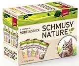 Schmusy Katzenfutter Natures Menü mit Huhn, Lachs und Pasta, Multipack 12 x 100 g, 4er Pack (4 x 1.2 kg)