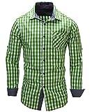 Kuson Herren Kariert Hemd Slim Fit Bügelleicht Doppelfarbig auch fürs Oktoberfest geeignet Grün, 3-XL