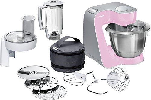 Bosch MUM58K20 Küchenmaschine CreationLine, 1000 W, 3,9 L Edelstahl-Rührschüssel, Durchlaufschnitzler, Mixer-Aufsatz, gentle rosa