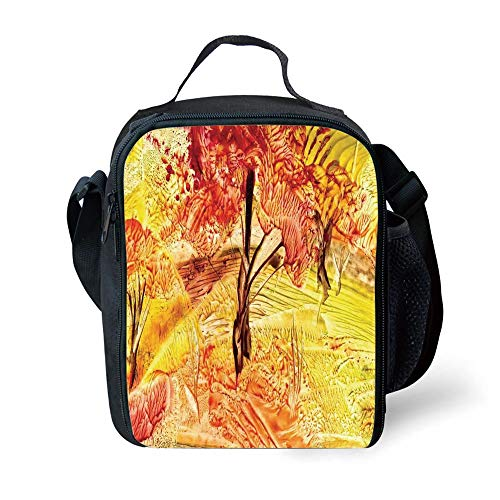 ZKHTO School Supplies Watercolor Flower House Decor,Idyllic Field with Autumn Tree in Fades Rural Countryside Paint,Orange for Girls or Boys Washable -