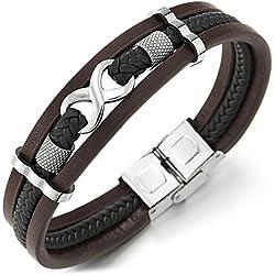 COOLSTEELANDBEYOND Trois Rangées Infini Amour Numéro 8 Brun Noir Véritable Tressé Cuir Bracelet pour Hommes et Femmes