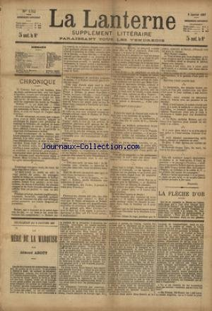 LANTERNE (LA) [No 132] du 09/01/1887 - LA FLECHE D'OR PAR SCHOLL - UN AMI INCONSOLABLE PAR MOINAUX - PETITS SOULIERS PAR MERIOT - LA TRUITE PAR THEURIET - EN ESPAGNE PAR NUNEZ - LE 3EME LARRON PAR HUBER - LA SANTE PUBLIQUE PAR LE DR MARC - FEUILLETONS / LA MERE DE LA MARQUISE PAR ABOUT - ET TIMOLEON POLAC PAR CHAVETTE