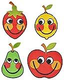 2 tlg. Set: XL Bügelbilder - lustige Obst / Gemüse mit Gesicht - 7 cm * 11 cm - Aufnäher Applikation - gestickter Flicken - Frucht Obst Früchte lustig Sommer Kochen Küche für Kinder / Deko