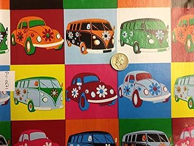 VW Vans Bug Vinyl PVC Tablecloth Easy Wipe Clean VARIETY PRINTS Patio Oilcloth 140cm Wide and 1 Metre of Length von By Table Luxury Cloth auf Gartenmöbel von Du und Dein Garten