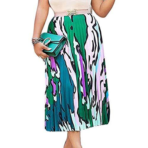 Xmiral Röcke Damen Elastische Taille Mehrfarbig Graffiti Falten Rock Mittellanger Röcke Elegant Wilde Abend Party Zwei Schichten A-Linie Strand Rock(Grün,XL)