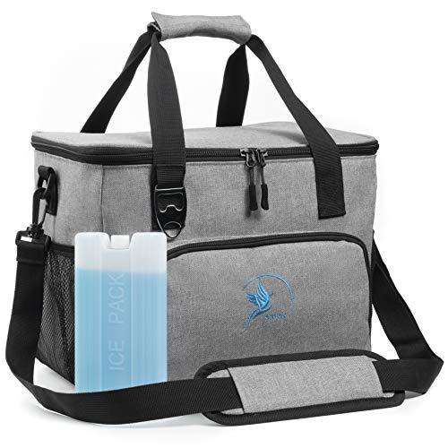 Obics Kühltasche 20l Strandtasche Lunchtasche Isoliertasche Thermostasche mit Reißverschluss inklusive Kühlakku und Flaschenöffner, (Grau, 20l)