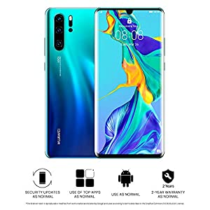 Huawei P30 Pro 128 GB 6.47 Inch OLED Display Smartphone with Leica Quad AI Camera, 8GB RAM, EMUI 9.1.0 Sim-Free Android Mobile Phone, Single SIM, Aurora, UK Version