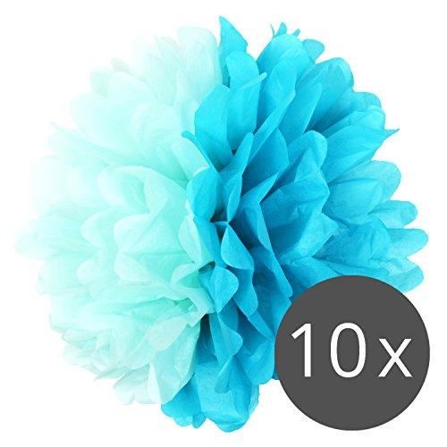 (Simplydeko Pompoms Aqua-Türkis - Pom Pom Deko zur Hochzeit oder Party - 10er Set Handgefertigte Seidenpapier Pompons (Aqua-Türkis, 30 cm))