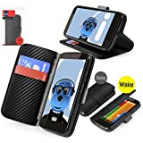 Orzly Motorola Moto G CARBON FIBRE BLACK Executive Wallet Case Cover Skin Cover with HORIZONTAL VIEWING STAND Holder and Sleep Wake Sensor