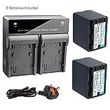 TOOFEY 2x VW-VBT380 Li-ion Batterie + DUAL chargeur de batterie pour Panasonic VW-VBT190 VW-BC10E HC-W580 HC-V750 HC-WX970 HC-V710 HC-V720 Digital Camera Camcorder