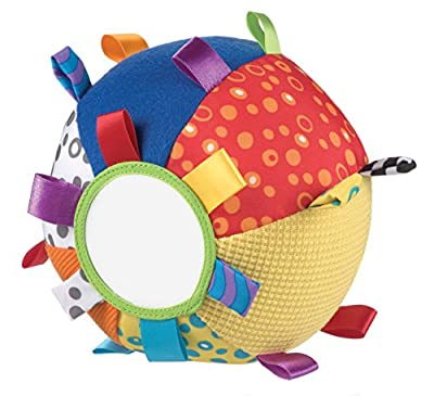 Playgro 0180271 - Pelota de tela con texturas, espejo, etiquetas y sonajero por Playgro