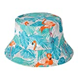 ZLYC Damen Fischerhut Einheitsgröße Gr. Einheitsgröße, Flamingos,Tropical Jungle,Grey