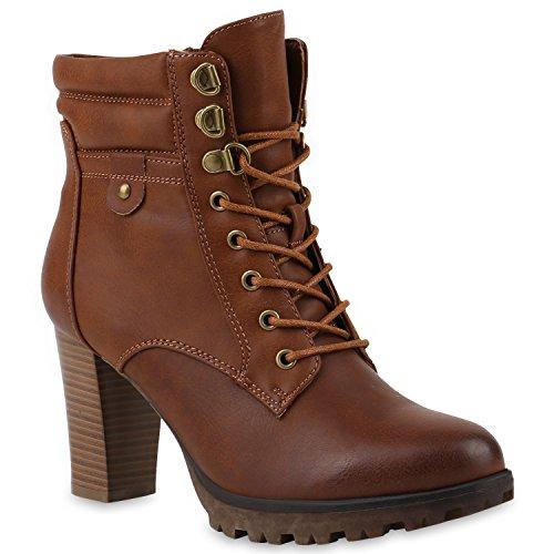 Damen Schnürstiefeletten Stiefeletten Profilsohle Schuhe 145426 Braun Schnürer Agueda 41 | Flandell®