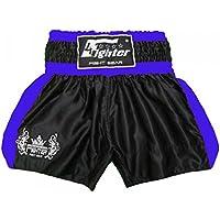 4Fighter Shorts Muay Thai Classic negro-azul con la 4Fighter logo en la pierna, Talla:XXXL