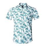 NUTEXROL Camicia Hawaiana per Uomo, Manica Corta, Stampata con Palme, per Estate, Blu, XXXL