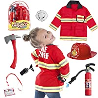 Born Toys (8 PC Premium Washable Fireman Costume and Firefighter Accessories with Real Water Shooting Extinguisher Great for Halloween